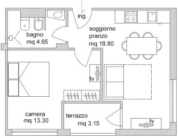 Hotel residenza lido cesenatico pollini hotels - Planimetria casa 60 mq ...